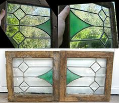 Two Leaded Stained and Beveled Glass Cabinet Doors Vintage