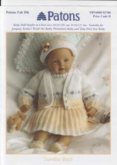 baby doll knitting pattern dress set wool in by lillbees Baby Cardigan Knitting Pattern Free, Knitting Patterns Free, Baby Knitting, Stitch Patterns, Knitted Dolls House, Wool Dolls, Knitting Dolls Clothes, Doll Clothes, Doll Patterns