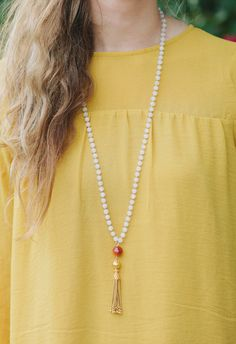 This mala is made of the stone Snow Quartz (stone of healing), Carnelian (ground and anchors) focal bead and gold vermeil k gold over sterling silver) tassel. This is a one of a kind piece that can be customized using other high quality stones. 24k Gold Jewelry, Tropical Weddings, Quartz Stone, Anchors, Carnelian, Wedding Jewelry, Tassel, Beaded Necklace, Stones