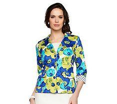 Joan Rivers Floral Bouquet 3/4 Sleeve Jacket