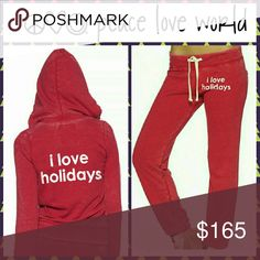 PEACE LOVE WORLD 'I LOVE HOLIDAYS' HOODIE SET PEACE LOVE WORLD 'I LOVE HOLIDAYS' LOVE2LOVE RED LIGHT HOODIE JACKET & PANT SET   NEW WITH TAGS! 100% AUTHENTIC! MADE IN TURKEY!   SOLD OUT STYLE!   SIZE: XS   MSRP $286 PLUS TAX (PANTS $128, HOODIE $158)   PERFECT FOR THE SEASON!! CUTE HOLIDAY PICS!! WARM & COZY!!   SEE MORE DESCRIPTIONS, PICTURES AND SIZES AT:  www.fashiongrl02.storefrontpro.com   Ebay item# 302097303309 peace love world Other
