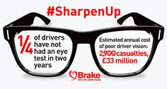Driver Eyesight: Are you up to standard? The road safety charity, Brake, reports that accidents caused by poor driver vision are estimated to cause casualties and cost million in the UK per year. Personal Injury Claims, About Uk, Charity, Eyes, Law, Safety, Glasses, Security Guard, Eyewear