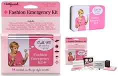 Don't let a fashion emergency like a broken zipper, or makeup marks on clothing send you home early. This cute Fashion Emergency Kit has all the products needed to prevent or repair any wardrobe malfunction. It contains Fashion Tape, Deodorant-Removing Sponge, Lint-Removing Sheets, Sewing Kit, Stain Wipe, Earring Back, Instant Button, Hair Band, Nail File, Blister Pad and Shoe-Shine Sponge. http://www.secretfashionfixes.ie/fashion-emergency-kit/hwfekitpd.html