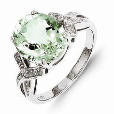 Sterling Silver Green Quartz Diamond Ring