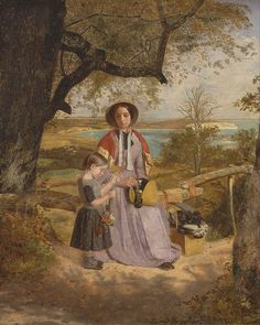 Mother and Child by a Stile, with Culver Cliff, Isle of Wight, in the Distance, 1849 to James Collinson - Dante Gabriel Rossetti, John Everett Millais, Pre Raphaelite Brotherhood, Google Art Project, Morris, English Artists, Victorian Art, Victorian Paintings, Isle Of Wight