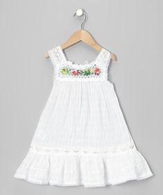 Little Cotton Dress White Nathaly Ibiza Dress - Infant, Toddler Girls #zulily #ad *cute