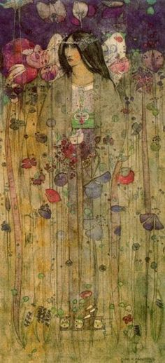 Rennie Mackintosh, In Fairyland, 1897 Charles Rennie Mackintosh - Exponent of the movement known as Glasgow, was the most important exponent of Art Nouveau in the United Kingdom.Charles Rennie Mackintosh - Exponent of the movement known as Gl Charles Rennie Mackintosh, Collage Kunst, Illustration Art Nouveau, Jugendstil Design, Art Deco, Drawn Art, Arts And Crafts Movement, Fairy Land, Psychedelic Art