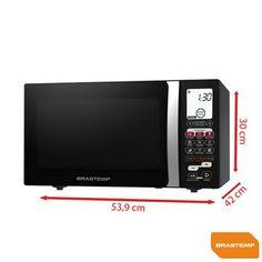 Forno de Micro-ondas Brastemp All Black 30L com 3 Níveis de Potência, Função Smart Food e Grill Preto - BMK45AE