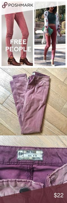 Free People Skinny Corduroy 5 Pocket Pants Corduroy skinny pants by Free People. Color is a beautiful dusty pink/purple and surprisingly goes with everything. Only worn once!! Free People Pants Skinny