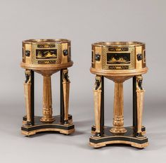 Pair of Black and Gilt Chinoiserie and Egyptian Motif Jardinières 1920