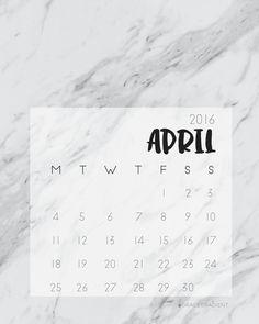 April 2016, Calendar, Printable, Marble, Print, A4, 8x10, Wall Art, Desk Planner by GraceGradient on Etsy