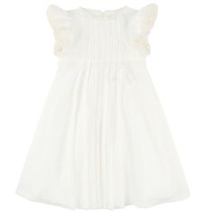 Crepe voile and lace party dress - Ivory - 107077