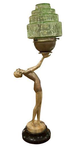 Art Deco Figural Metal Lady Lamp C1930