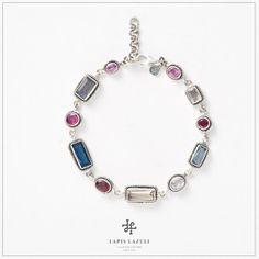 Rainbow Multi-Shape Bracelet Gemstone Bracelets, Labradorite, Sapphire, Rainbow, Shapes, Gemstones, Silver, Jewelry, Rain Bow