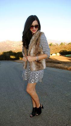 .Printed Dress & Faux Fur.
