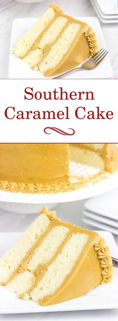 Southern Caramel Cake Inspired by an old favorite, this Southern Caramel Cake features a rich, caramel frosting over layers of dense, white cake…and it's delicious! Food Cakes, Cupcake Cakes, Cake Cookies, Sweets Cake, Cake Icing, Just Desserts, Delicious Desserts, Southern Caramel Cake, Carmel Cake