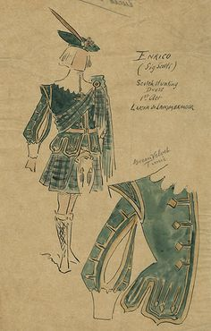 Lucia di Lammermoor  Covent Garden, 1902  Costumes designed by Attilio Comelli    Attilio Comelli (1858-1925)  Costume design for Lucia di Lammermoor, 1902  Antonio Scotti as Enrico