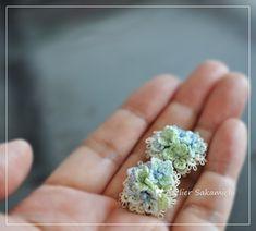 タティング 紫陽花のイヤリング 完成。 : タティングレース便り ~アトリエ さかみち~