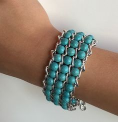 Cuff Bracelet in Turquoise with by VzoriCollections on Etsy