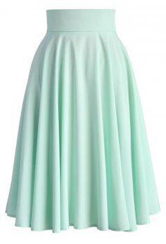 Creamy Pleated Midi Skirt in Mint - Retro, Indie and Unique Fashion