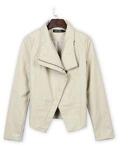 Shop White PU Lapel Long Sleeve Slim Coat from choies.com .Free shipping Worldwide.$24.9