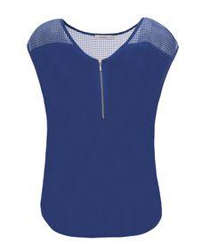 Perforated Yoke Zip Top, Sapphire #rickis #spring #spring2017 #springfashion #rickisfashion #bluemoon #blue #loverickis