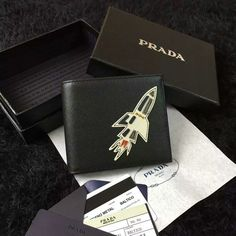 2016 Mens Prada Saffiano Leather Wallet Black with Rocket Applique
