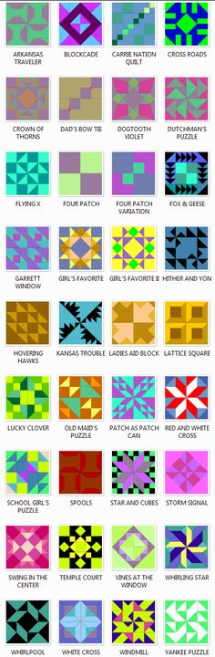 Free patterns for @Joyce Novak Green barn quilt ideas