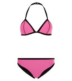 Teens Pink Contrast Trim Bikini Set | New Look