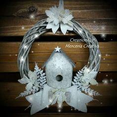 Coccarda naturale 20 cm con stella natalizia bianca