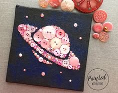 Saturn and Stars Button Art - Pink Geeky Room Decor - Small Wall Art - 4x4 - Planets and Stars Decor - Geeky Gift - Pink Nursery Decor