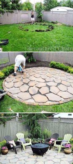 Backyard House, Small Backyard Landscaping, Fire Pit Backyard, Landscaping Ideas, Backyard Pavers, Rustic Landscaping, Rustic Patio, Backyard Gazebo, Backyard Seating