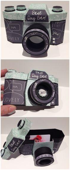 Paper camera gift box. Paper Camera, Camera Cards, Box Camera, Cardboard Camera, 3d Paper Crafts, Cardboard Crafts, Paper Toys, Diy Paper, Cute Birthday Gift