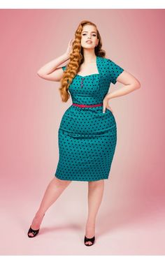 Pinup Couture - Charlotte Dress in Jade With Black Polka Dots - Plus Size   Pinup Girl Clothing