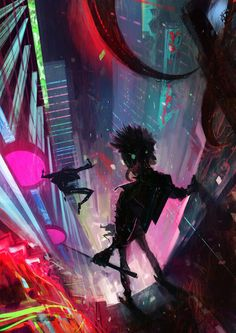 """Cyberpunk is a science fiction sub-genre that focuses on internet computing, hacking, human cybernetic enhancements, and disrupted societies led by ruthless mega-corporations. """"Neuromancer"""" by William Gibson, is widely credited for popularizing cyberpunk. Arte Cyberpunk, Cyberpunk City, Cyberpunk 2077, Ville Cyberpunk, Cyberpunk Aesthetic, Cyberpunk Tattoo, Cyberpunk Fashion, High Fantasy, Fantasy Art"""