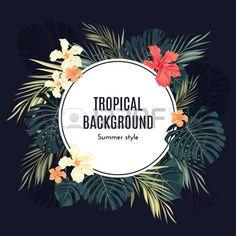 hawaiana: Verano de fondo hawaiano tropical o un volante con hojas de palma…