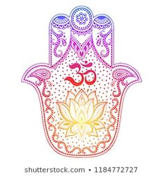 """Imagens, fotos stock e vetores similares de Color Hamsa hand drawn symbol with mantra OM. Decorative pattern in oriental style for the interior decoration and henna drawings. The ancient sign of """"Hand of Fatima"""". Hamsa Hand Tattoo, Ohm Tattoo, Hand Tattoos, Lotus Tattoo Design, Hamsa Tattoo Design, Black And White Photo Wall, Black And White Pictures, Tatouage Main Hamsa, Henne Tattoo"""