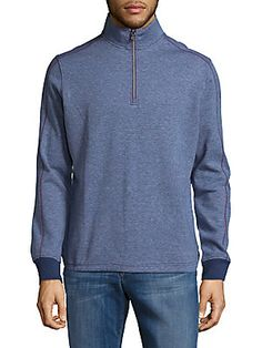 ROBERT GRAHAM HALF-ZIP COTTON SWEATER. #robertgraham #cloth #