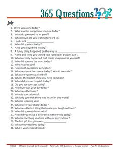 365 questions - July
