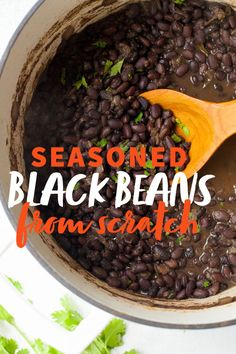 These perfectly seasoned black beans are great on their own with a side of cornbread, or mixed into any number of other recipes. # Food and Drink vegetarian black beans One Bag of Black Beans: Three Meals Mexican Dishes, Mexican Food Recipes, Vegetarian Recipes, Cooking Recipes, Healthy Recipes, Recipes Dinner, Cooking Tips, Cooking Dried Beans, Cooking Black Beans