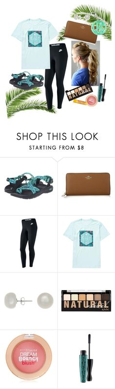 """""""Chacos and billabong"""" by averytheleapinglizard ❤ liked on Polyvore featuring Chaco, Coach, NIKE, Billabong, Jardin, NYX, Maybelline, MAC Cosmetics and Burt's Bees"""