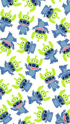 alien, blue, cartoon, cute, disney, green, hipster, indie, iphone wallpaper, lilo e stitch, retro, stitch, tumblr, vintage, wallpaper