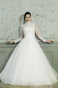 lilly bridal 2015 ball gown wedding dress illusion long sleeves high neck lace top 08 3546 cr front view