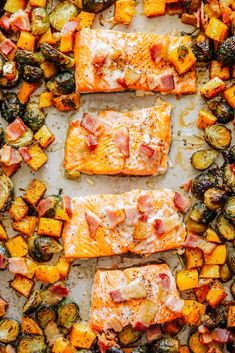 Sheet Pan Honey-Salmon with Brussels Sprouts and Butternut Squash - Live Simply Easy Healthy Dinners, Healthy Dinner Recipes, Real Food Recipes, Simple Meals, Yummy Recipes, White Bean Soup, Vegetarian Soup, Butternut Squash, Sheet Pan
