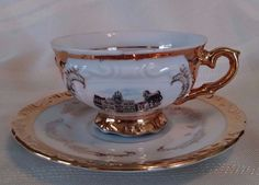 BAVARIA VINTAGE WHITE AND GOLD TEA CUP AND SAUCER.