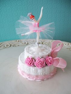 Would be so cute as a real cake.  Ballerina Birthday Cake Trinket Box for Ballet party. $6.00, via Etsy.