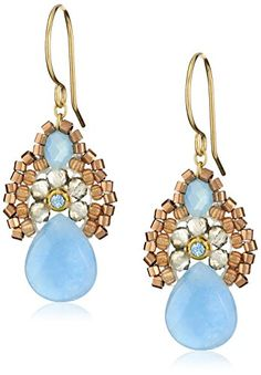 """Miguel Ases Blue Jade and Smoky Created Quartz Drop Earrings, 1.4"""" Miguel Ases http://www.amazon.com/dp/B00IHWAI8M/ref=cm_sw_r_pi_dp_nWX.wb0M2Y5KK"""