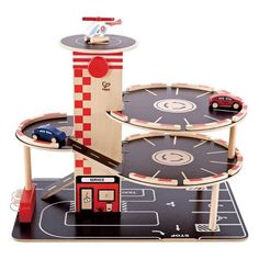 Our Park and Go Garage by Hape is the road to fun! Cars can race around the lot, stop for gas, and meet up with the helicopter. An elevator in the center transp