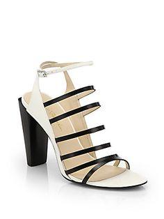 Black and White party shoe - 3.1 Phillip Lim Ella Canvas  Leather Bicolor Sandals