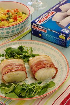 Cinco Quartos de Laranja: Medalhões de pescada com bacon e salada de cuscuz com legumes